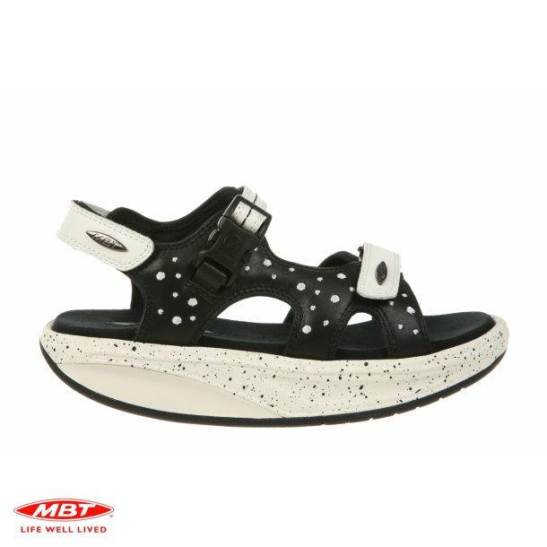 MBT KISUMU 3S Black/White Dots, damesandal